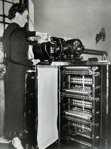 In this undated photo provided by the Franklin D. Roosevelt Presidential Library and Museum, a Census Bureau staffer operates an electric tabulator at the U.S. Census Bureau. Data for the 1940 Census was collected by hand and transferred to punched cards which were then run through the tabulating machine. The tabulating machine printed the final calculation. &#40;AP Photo&#47;Franklin D. Roosevelt Presidential Library Museum&#41; <span class=meta>(AP Photo)</span>
