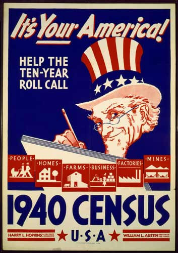 This photo provided by the University of Texas at Arlington Library shows an image of a poster used for promotional efforts during the 1940 Census. Many questions of the 1940 census will be revealed April 2, when the National Archives and Records Administration makes records available from the 1940 Census. &#40;AP Photo&#47;UTA Library via The Fort Worth Star-Telegram&#41; <span class=meta>(AP Photo)</span>