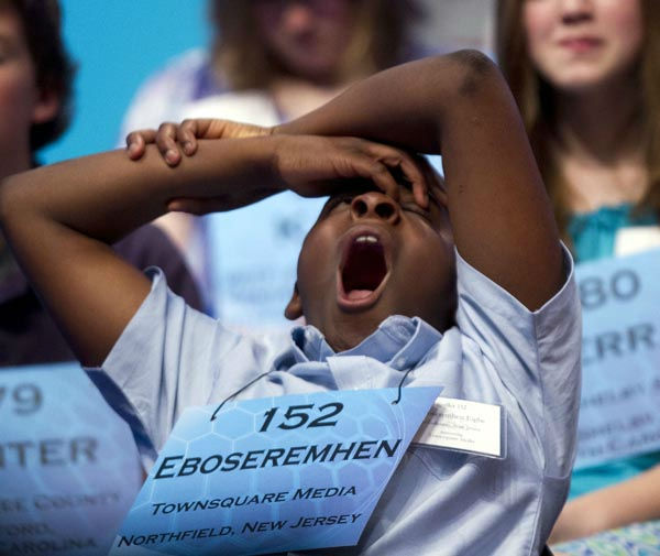 Eboseremhen Eigbe, of Galloway, N.J., yawns during the second round of National Spelling Bee, Wednesday, May 30, 2012, in Oxon Hill, Md.  &#40;AP Photo&#47;Evan Vucci&#41; <span class=meta>(AP Photo&#47; Evan Vucci)</span>
