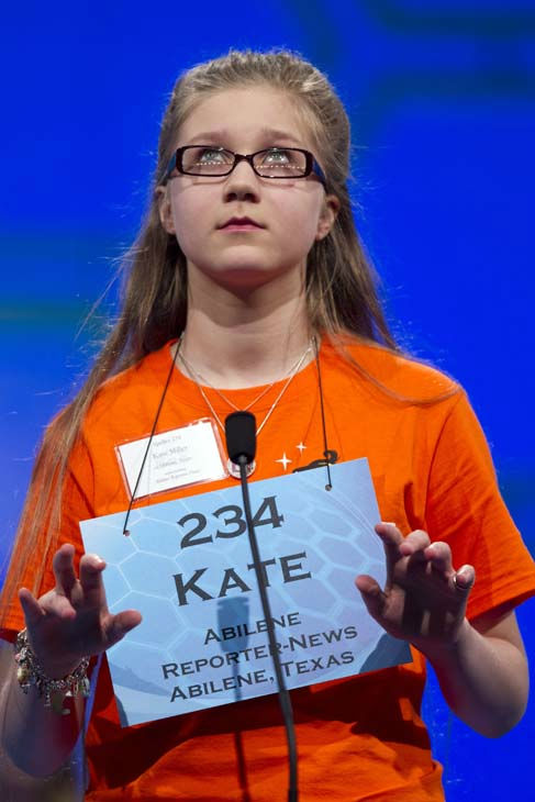 Kate Miller, of Abilene, Texas, spells &#34;fougade&#34; during the second round of the National Spelling Bee, Wednesday, May 30, 2012, in Oxon Hill, Md.  &#40;AP Photo&#47;Evan Vucci&#41; <span class=meta>(AP Photo&#47; Evan Vucci)</span>