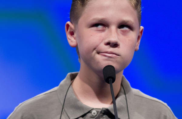 "<div class=""meta image-caption""><div class=""origin-logo origin-image ""><span></span></div><span class=""caption-text"">Nathan Dugan, of Canton, Ohio, spells his word ""cantankerous"" during the National Spelling Bee, Wednesday, May 30, 2012, in Oxon Hill, Md.  (AP Photo/Evan Vucci) (AP Photo/ Evan Vucci)</span></div>"