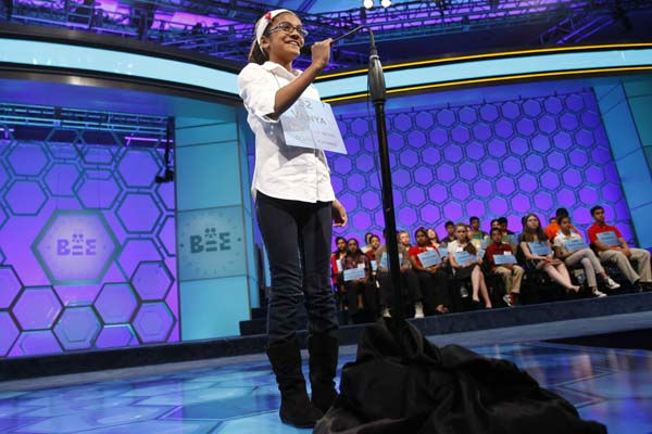 Vanya Shivashankar, 10, of Olathe, Kansas, spells a word during the semifinals of the National Spelling Bee in Oxon Hill, Md., Thursday, May 31, 2012.  &#40;AP Photo&#47;Jacquelyn Martin&#41; <span class=meta>(AP Photo&#47; Jacquelyn Martin)</span>