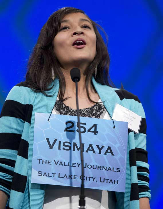 Vismaya Jui Kharkar, of Bountiful, Utah, lets out a sigh of relief after spelling &#34;dysthymia&#34; during the semifinal round of the National Spelling Bee, Thursday, May 31, 2012, in Oxon Hill, Md.  &#40;AP Photo&#47;Evan Vucci&#41; <span class=meta>(AP Photo&#47; Evan Vucci)</span>