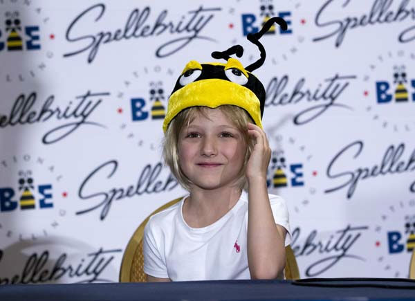 Six-year-old Lori Anne Madison, of Woodbridge, Va., the youngest contestant in the history of the National Spelling Bee, speaks during a news conference, Thursday, May 31, 2012, in Oxon Hill, Md.  &#40;AP Photo&#47;Evan Vucci&#41; <span class=meta>(AP Photo&#47; Evan Vucci)</span>