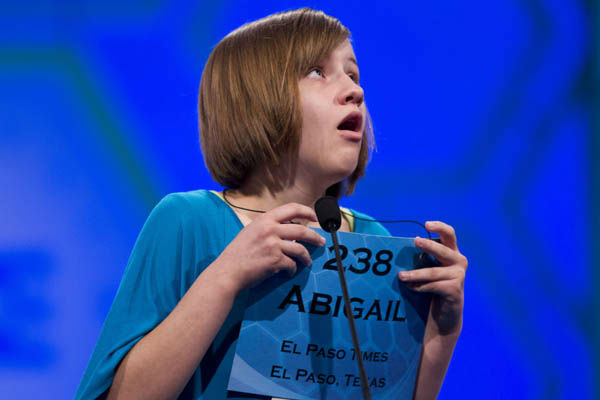 Abigail Violet Spitzer of El Paso, Texas, reacts after spelling her word &#34;tondino&#34; correctly during the semifinal round of the National Spelling Bee, Thursday, May 31, 2012, in Oxon Hill, Md.  &#40;AP Photo&#47;Evan Vucci&#41; <span class=meta>(AP Photo&#47; Evan Vucci)</span>