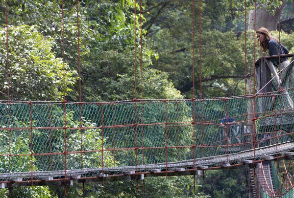 Kate, the Duchess of Cambridge, walks on a canopy walkway at the Borneo Rainforest Research Center in Danum Valley, some 70 kilometers &#40;44 miles&#41; west of Lahad Datu, on the island of Borneo, Malaysia, on Saturday, Sept. 15, 2012. The visit of the Duke and Duchess of Cambridge to Malaysia is part of the royal couple&#39;s tour to celebrate Queen Elizabeth II&#39;s Diamond Jubilee. &#40;AP Photo&#47;Mohd Rasfan, Pool&#41; <span class=meta>(AP Photo&#47; Mohd Rasfan)</span>