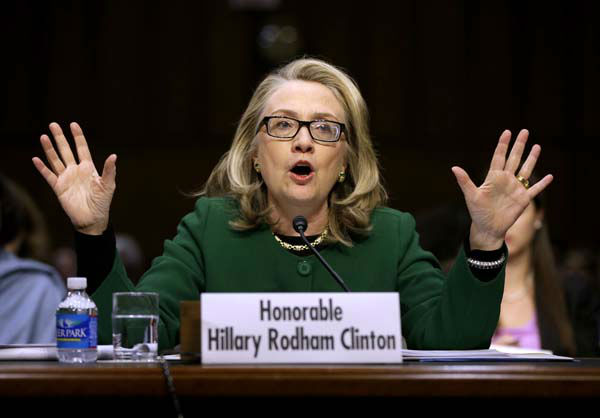 "<div class=""meta ""><span class=""caption-text "">Secretary of State Hillary Rodham Clinton testifies on Capitol Hill in Washington, Wednesday, Jan. 23, 2013, before the Senate Foreign Relations Committee hearing on the deadly September attack on the U.S. diplomatic mission in Benghazi, Libya, that killed Ambassador Chris Stevens and three other Americans.  (AP Photo/Pablo Martinez Monsivais) (AP Photo/ Pablo Martinez Monsivais)</span></div>"