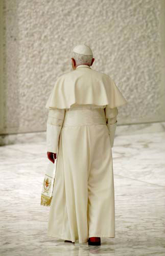 "<div class=""meta ""><span class=""caption-text "">FILE - This Nov. 22, 2010 file photo shows Pope Benedict XVI leaving at the end of an audience with newly-appointed cardinals and their relatives, in Paul VI Hall, at the Vatican.  On Monday, Feb. 11, 2013 the Vatican announced that Pope Benedict XVI will resign on Feb. 28, 2013. (AP Photo/Andrew Medichini) (AP Photo/ Andrew Medichini)</span></div>"