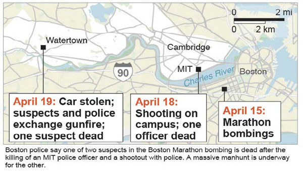 This locator map shows the location and time line of the suspects in the Boston Marathon explosions. Boston police say one of the two suspects in the Boston Marathon bombing is dead after the killing of an MIT police officer and a shootout with police. A massive manhunt is underway for the other. &#40;AP Photo&#41; <span class=meta>(AP Photo&#47; MM**NY** JHC**NY**)</span>