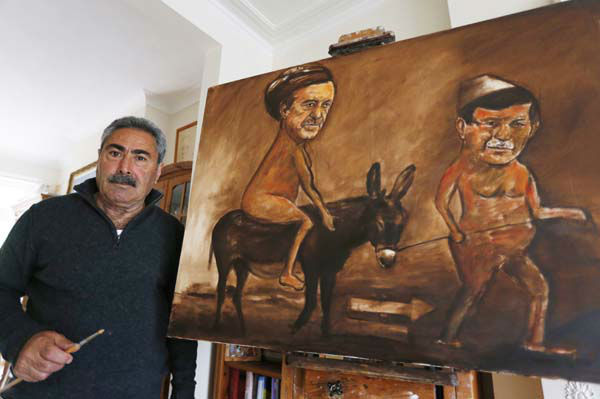 Political painter Kaya Mar, 56, poses with one of his painting depicting Turkey&#39;s Prime Minister Tayip Recep Erdogan, left, naked riding a donkey as he is led by Turkey&#39;s Foreign Minister Ahmet Davutoglu, right, at his home in London, Monday, June 10, 2013.  &#40;AP Photo&#47;Lefteris Pitarakis&#41; <span class=meta>(AP Photo&#47; Lefteris Pitarakis)</span>