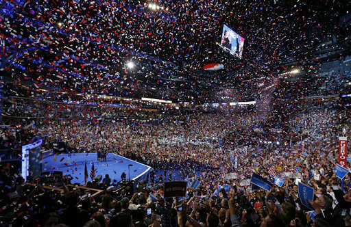 President Barack Obama and his family and Vice President Joe Biden and his family celebrate their nominations as the confetti falls at the conclusion of the Democratic National Convention in Charlotte, N.C., on Thursday, Sept. 6, 2012. &#40;AP Photo&#47;Carolyn Kaster&#41; <span class=meta>(AP Photo&#47; Carolyn Kaster)</span>