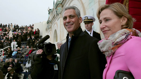 Chicago Mayor Rahm Emanuel and wife Amy Rule arrive on the West Front of the Capitol in Washington, Monday, Jan. 21, 2013, for the Presidential Barack Obama&#39;s ceremonial swearing-in ceremony during the 57th Presidential Inauguration.  <span class=meta>(AP Photo&#47;Win McNamee, Pool)</span>