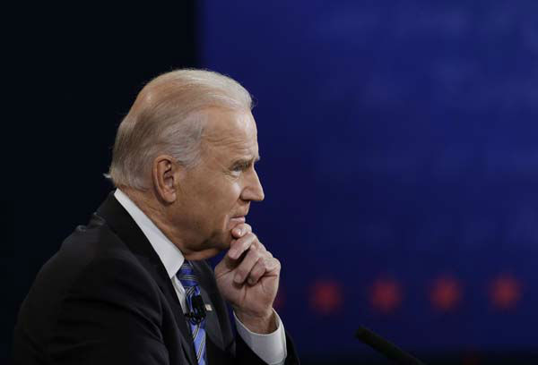 Vice President Joe Biden listens to Republican vice presidential nominee Rep. Paul Ryan, of Wisconsin, during the vice presidential debate at Centre College, Thursday, Oct. 11, 2012, in Danville, Ky. &#40;AP Photo&#47;Eric Gay&#41; <span class=meta>(AP Photo&#47; Eric Gay)</span>