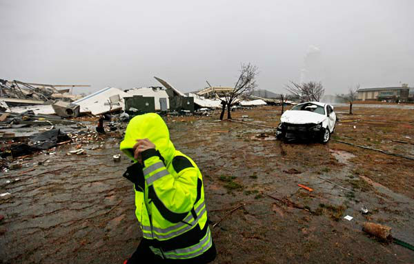 The aftermath of a tornado is seen at the Daiki plant, a metal fabrication company, Wednesday, Jan. 30, 2013, in Adairsville, Ga. A fierce storm system that roared across Georgia has left at least one person dead after it demolished buildings and flipped vehicles on Interstate 75 northwest of Atlanta. &#40;AP Photo&#47;David Goldman&#41; <span class=meta>(AP Photo&#47; David Goldman)</span>