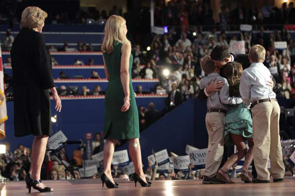 Republican vice presidential candidate, Rep. Paul?Ryan, R-Wis., embraces his children Charlie, Liza and Sam, as his mother Betty, left, and wife Janna join him on stage after he addressed the Republican?National?Convention  in Tampa, Fla., Wednesday, Aug. 29, 2012.  &#40;AP Photo&#47;Mary Altaffer&#41; <span class=meta>(AP Photo&#47; Mary Altaffer)</span>