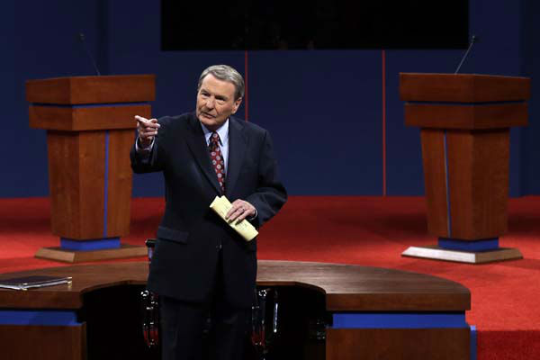 Moderator Jim Lehrer  addresses the audience before the first presidential debate at the University of Denver, Wednesday, Oct. 3, 2012, in Denver. &#40;AP Photo&#47;Charlie Neibergall&#41; <span class=meta>(AP Photo&#47; Charlie Neibergall)</span>