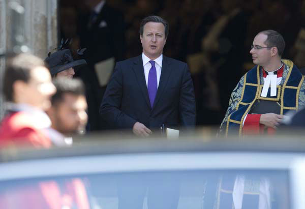 "<div class=""meta ""><span class=""caption-text "">Britain's Prime Minister David Cameron leaves after a service to celebrate the 60th anniversary of the coronation of Britain's Queen Elizabeth II at Westminster Abbey, London, Tuesday, June  4, 2013. (AP Photo/Alastair Grant) (AP Photo/ Alastair Grant)</span></div>"
