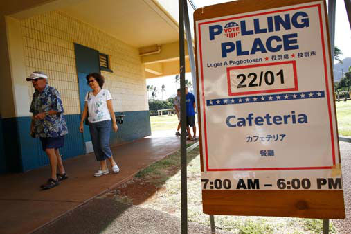 "<div class=""meta ""><span class=""caption-text "">Voters walk to a polling site at Jefferson Elementary School, Tuesday, Nov. 6, 2012, in Honolulu. (AP Photo/Kent Nishimura) (AP Photo/ Kent Nishimura)</span></div>"