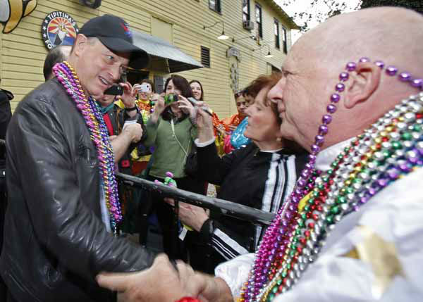Actor Gary Sinise greets a fellow rider before the start of the Orpheus Mardi Gras parade in New Orleans,  Monday, Feb. 11, 2013. &#40;AP Photo&#47;Bill Haber&#41; <span class=meta>(AP Photo&#47; Bill Haber)</span>