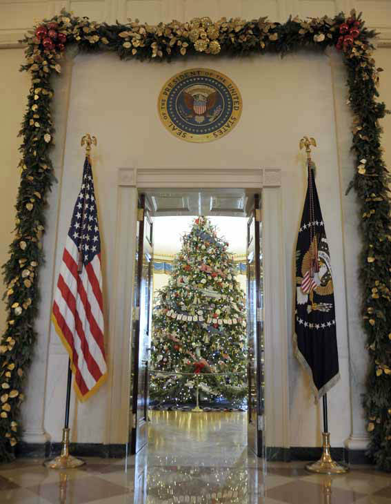 The official White House Christmas tree, an 18-foot-6-inch Frasier fur from Jefferson, N.C., trimmed with ornaments decorated by children of military families, sits in the Blue Room of the White House in Washington, Wednesday, Nov. 28, 2012, during a preview of the White House holiday decorations. The theme for the White House Christmas 2012 is Joy to All. &#40;AP Photo&#47;Susan Walsh&#41; <span class=meta>(AP Photo&#47; Susan Walsh)</span>