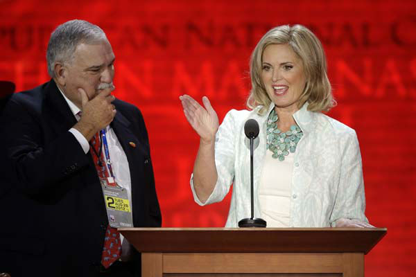 "<div class=""meta ""><span class=""caption-text "">Ann Romney, wife of U.S. Republican presidential candidate Mitt Romney, looks over the stage setup with convention CEO Bill Harris during the Republican National Convention in Tampa, Fla., on Tuesday, Aug. 28, 2012. (AP Photo/J. Scott Applewhite) (AP Photo/ J. Scott Applewhite)</span></div>"