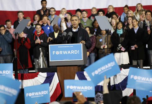 President Barack Obama speaks at a campaign rally at the Community College of Aurora, in Aurora, Colo., Sunday, Nov. 4, 2012. &#40;AP Photo&#47;Brennan Linsley&#41; <span class=meta>(AP Photo&#47; Brennan Linsley)</span>
