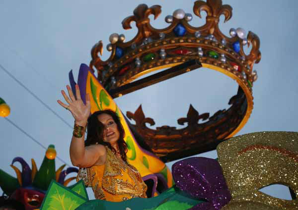 Actress Mariska Hargitay rides in the Orpheus Mardi Gras parade in New Orleans,  Monday, Feb. 11, 2013. &#40;AP Photo&#47;Bill Haber&#41; <span class=meta>(AP Photo&#47; Bill Haber)</span>