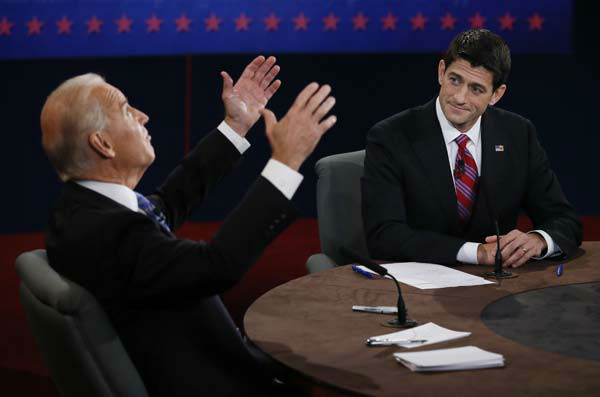 Vice President Joe Biden and Republican vice presidential nominee Rep. Paul Ryan of Wisconsin participate in the vice presidential debate at Centre College, Thursday, Oct. 11, 2012, in Danville, Ky. &#40;AP Photo&#47;Pool-Rick Wilking&#41; <span class=meta>(AP Photo&#47; Rick Wilkins)</span>
