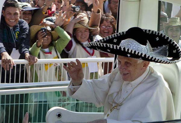 "<div class=""meta image-caption""><div class=""origin-logo origin-image ""><span></span></div><span class=""caption-text"">FILE - In this Sunday, March 25, 2012 file photo, Pope Benedict XVI waves from the popemobile wearing a Mexican sombrero as he arrives to give a Mass in Bicentennial Park near Silao, Mexico. Pope Benedict XVI announced Monday, Feb. 11, 2013, he would resign Feb. 28 because he is simply too old to carry on. (AP Photo/Eduardo Verdugo, File) (AP Photo/ Eduardo Verdugo)</span></div>"