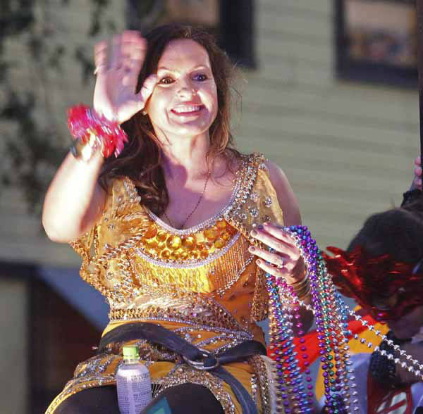 "<div class=""meta ""><span class=""caption-text "">Actress Mariska Hargitay rides in the Orpheus Mardi Gras parade in New Orleans,  Monday, Feb. 11, 2013. (AP Photo/Bill Haber) (AP Photo/ Bill Haber)</span></div>"