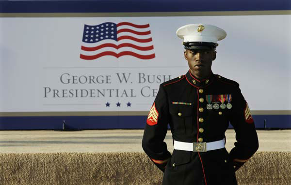 "<div class=""meta image-caption""><div class=""origin-logo origin-image ""><span></span></div><span class=""caption-text"">A marine waits for the arrival of guests before the dedication of the George W. Bush Presidential Center Thursday, April 25, 2013, in Dallas. The ceremony will be attended by President Barack Obama and four former presidents. (AP Photo/David J. Phillip) (AP Photo/ David J. Phillip)</span></div>"