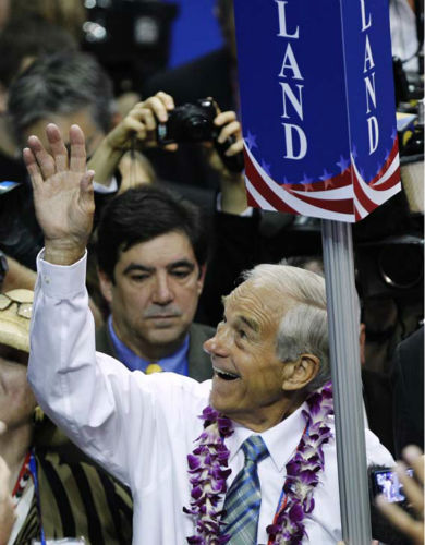"<div class=""meta ""><span class=""caption-text "">Rep. Ron Paul, R-Texas, waves to supporters as he arrives on the convention floor for the Republican National Convention in Tampa, Fla., on Tuesday, Aug. 28, 2012. (AP Photo/Lynne Sladky) (AP Photo/ Lynne Sladky)</span></div>"
