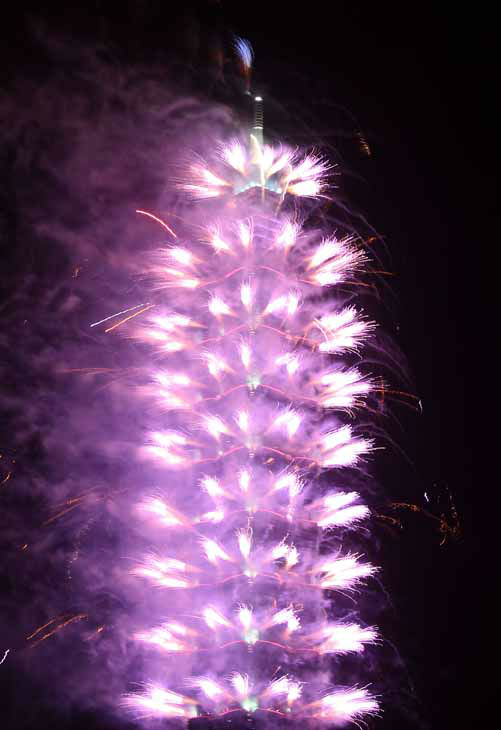 A firework display explodes off Taiwan&#39;s tallest skyscraper Taipei101 to usher in the New Year in Taipei, Taiwan, Tuesday, Jan. 1, 2013. &#40;AP Photo&#47;Chiang Ying-ying&#41; <span class=meta>(AP Photo&#47; Chiang Ying-ying)</span>