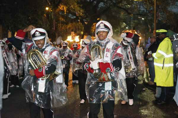 "<div class=""meta ""><span class=""caption-text "">The Martin Luther King High School Band is braving the rain as it marches in the Orpheus Mardi Gras parade rin New Orleans,  Monday, Feb. 11, 2013. (AP Photo/Bill Haber) (AP Photo/ Bill Haber)</span></div>"