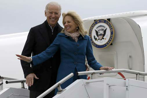 Vice President Joe Biden, accompanied by his wife Jill Biden, board Air Force Two, Tuesday, Nov. 6, 2012, at a Delaware Air National Guard Base in New Castle , Del., en route to Chicago.  &#40;AP Photo&#47;Matt Rourke&#41; <span class=meta>(AP Photo&#47; Matt Rourke)</span>