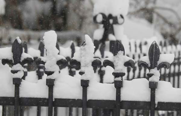 Snow covers a row of ornamental fleur de lis on the gate of a fence leading to a home in Denver as a spring storm packing high winds and heavy snow swept over Colorado&#39;s Front Range and on to the eastern plains on Saturday, March 23, 2013. Forecasters predict up to a foot of snow will fall in some locations in Colorado before the storm heads toward the nation&#39;s midsection. &#40;AP Photo&#47;David Zalubowski&#41; <span class=meta>(AP Photo&#47; David Zalubowski)</span>