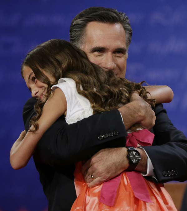 Republican presidential nominee Mitt Romney hugs his grand-daughter following the first presidential debate with President Barack Obama at the University of Denver, Wednesday, Oct. 3, 2012, in Denver. &#40;AP Photo&#47;Eric Gay&#41; <span class=meta>(AP Photo&#47; Eric Gay)</span>