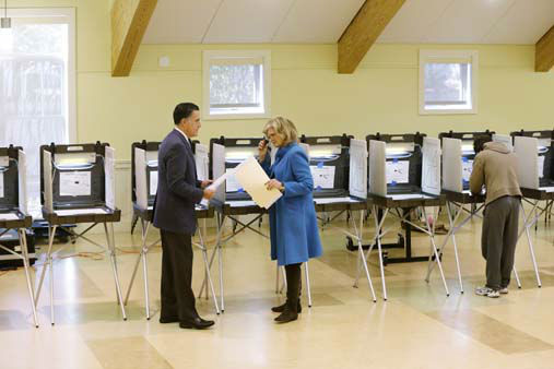 Republican presidential candidate, former Massachusetts Gov. Mitt Romney and wife Ann Romney vote in Belmont, Mass., Tuesday, Nov. 6, 2012. &#40;AP Photo&#47;Charles Dharapak&#41; <span class=meta>(AP Photo&#47; Charles Dharapak)</span>