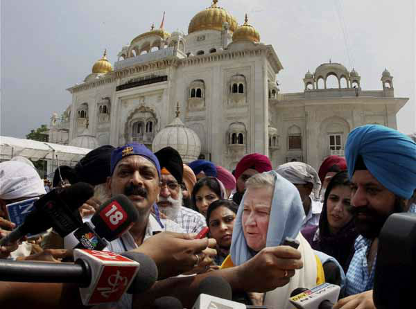 U.S Ambassador to India Nancy J. Powell talks to the media after visiting the Bangla Sahib Gurudwara or Sikh temple to offer condolence in New Delhi, India, Monday, Aug. 6, 2012. Indian Prime Minister Manmohan Singh said Monday that he was shocked and saddened by the shooting attack that killed six people at a Sikh house of worship in the U.S. state of Wisconsin. &#40;AP Photo&#41; INDIA OUT <span class=meta>(AP Photo&#47; KCF RSI JK**TOK**)</span>