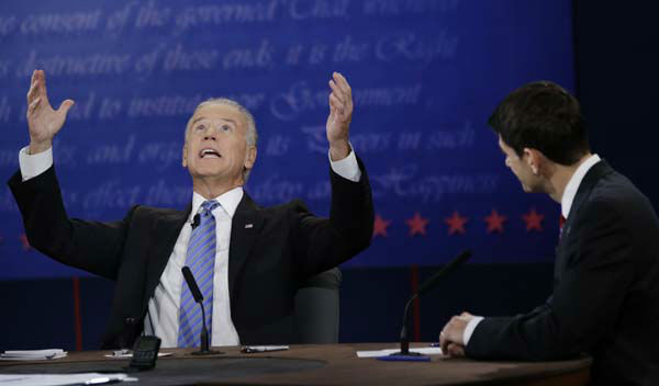 Republican vice presidential nominee Rep. Paul Ryan, of Wisconsin, right, watches as Vice President Joe Biden, speaks during the vice presidential debate at Centre College, Thursday, Oct. 11, 2012, in Danville, Ky. &#40;AP Photo&#47;David Goldman&#41; <span class=meta>(AP Photo&#47; David Goldman)</span>
