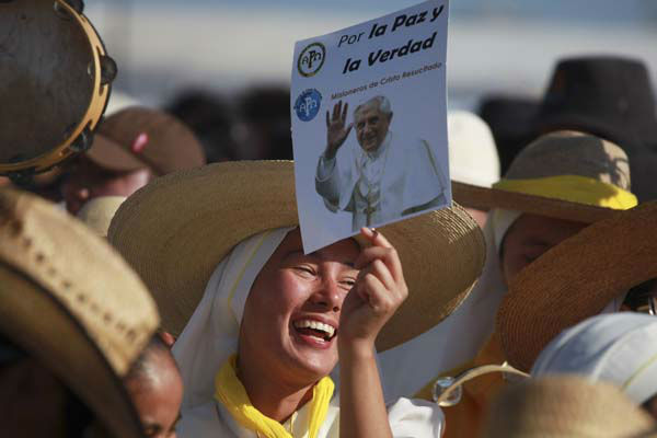 FILE - In this Sunday, March 25, 2012 file photo, pilgrims cheer and sing as they wait at the site where Pope Benedict XVI will give a Mass in Bicentennial Park near Silao, Mexico. Pope Benedict XVI announced Monday, Feb. 11, 2013, he would resign Feb. 28 because he is simply too old to carry on. &#40;AP Photo&#47;Dario Lopez-Mills, File&#41; <span class=meta>(AP Photo&#47; Dario Lopez-Mills)</span>