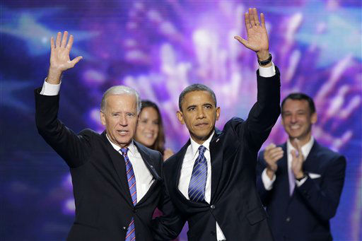 Vice President Joe Biden and President Barack Obama wave to the delegates at the conclusion of Presdident Obama&#39;s speech at the Democratic National Convention in Charlotte, N.C., on Thursday, Sept. 6, 2012. &#40;AP Photo&#47;J. Scott Applewhite&#41; <span class=meta>(AP Photo&#47; J. Scott Applewhite)</span>
