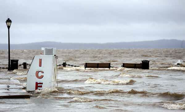 A park floods along the Susquehanna River in Havre de Grace, Md. is flooded as the aftermath of superstorm Sandy continues to disrupt routines on the East Coast Tuesday, Oct. 30, 2012. &#40;AP Photo&#47;Steve Ruark&#41; <span class=meta>(AP Photo&#47; Steve Ruark)</span>