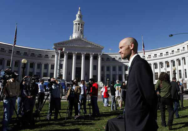 Brian Vicente co-director of the Yes on 64 campaign waits to start a news conference about the legalization of marijuana at Civic Center Park in Denver on Wednesday, Nov. 7, 2012.  Colorado voters passed Amendment 64 on Tuesday legalizing marijuana in Colorado for recreational use. &#40;AP Photo&#47;Ed Andrieski&#41; <span class=meta>(AP Photo&#47; Ed Andrieski)</span>