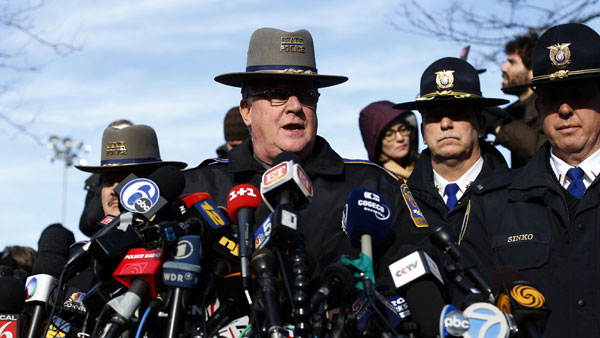 "<div class=""meta ""><span class=""caption-text "">Lt. J. Paul Vance of the Connecticut State Police conducts a news briefing, Saturday, Dec. 15, 2012 in Newtown, Conn. The massacre of 26 children and adults at Sandy Hook Elementary school elicited horror and soul-searching around the world even as it raised more basic questions about why the gunman, 20-year-old Adam Lanza, would have been driven to such a crime and how he chose his victims. (AP Photo/Jason DeCrow)</span></div>"