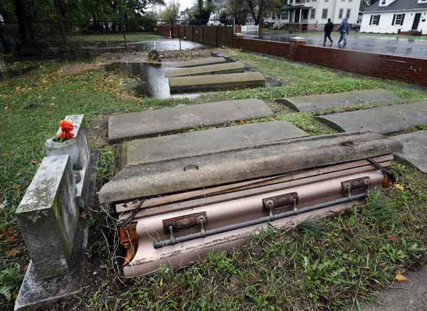 "<div class=""meta image-caption""><div class=""origin-logo origin-image ""><span></span></div><span class=""caption-text"">A casket floated out of the grave in a cemetery in Crisfield, Md. after the effects of superstorm Sandy Tuesday, Oct. 30, 2012. Hundreds of people were displaced by floodwaters in Ocean City and in Crisfield. At the same time, 2 feet of snow fell in westernmost Garrett County, were nearly three-quarters of residents lost power. (AP Photo/Alex Brandon) (AP Photo/ Alex Brandon)</span></div>"