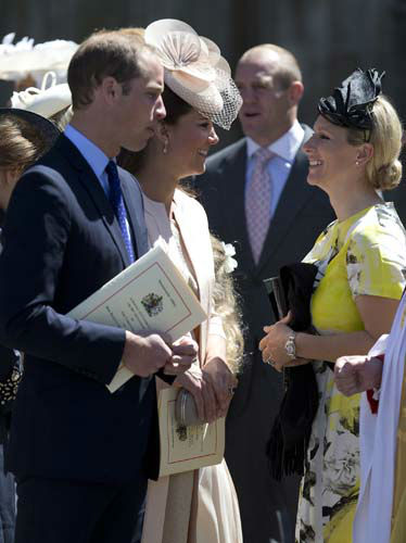 Britain&#39;s Duke and Duchess of Cambridge talk with Zara Phillips as they leave Westminster Abbey, London, following a service to celebrate the 60th anniversary of the coronation of Britain&#39;s Queen Elizabeth II, Tuesday, June 4, 2013. &#40;AP Photo&#47;Alastair Grant&#41; <span class=meta>(AP Photo&#47; Alastair Grant)</span>
