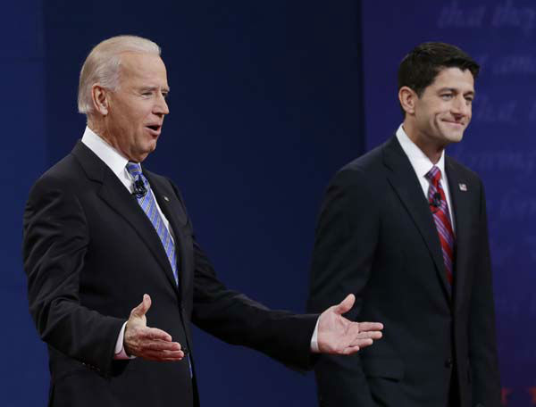 Vice President Joe Biden, left, and Republican vice presidential nominee Paul Ryan, of Wisconsin, greet spectators during the vice presidential debate at Centre College, Thursday, Oct. 11, 2012, in Danville, Ky. &#40;AP Photo&#47;Eric Gay&#41; <span class=meta>(AP Photo&#47; Eric Gay)</span>