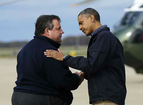 President Barack Obama is greeted by New Jersey Gov. Chris Christie upon his arrival at Atlantic City International Airport, Wednesday, Oct. 31, 2012, in Atlantic City, NJ. Obama traveled to region to take an aerial tour of the Atlantic Coast in New Jersey in areas damaged by superstorm Sandy,   <span class=meta>(AP Photo&#47; Pablo Martinez Monsivais)</span>