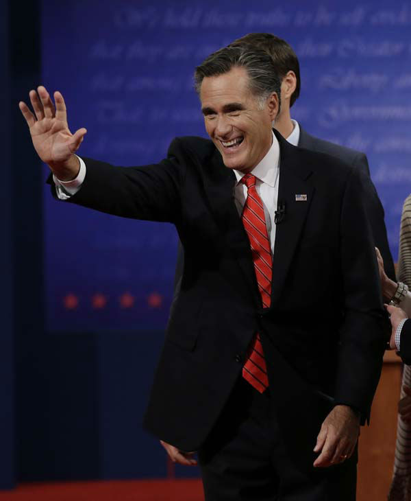 "<div class=""meta ""><span class=""caption-text "">Republican presidential nominee Mitt Romney waves to audience members following the first presidential debate with President Barack Obama at the University of Denver, Wednesday, Oct. 3, 2012, in Denver. (AP Photo/Eric Gay) (AP Photo/ Eric Gay)</span></div>"